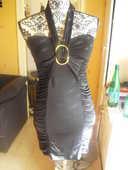 robe courte noire plissée NEUVE TOUR DE COU STRETCH T 36 8 Lyon 5 (69)
