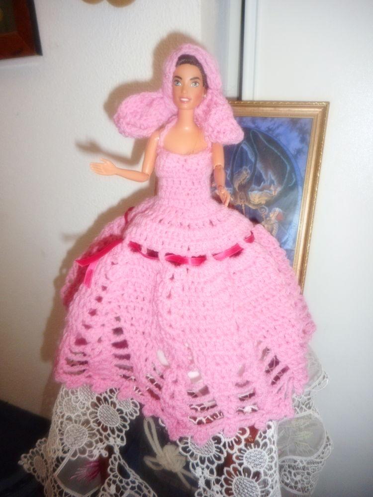 robe longue crochetée main en rose pour poupée barbie  0 Lignan-sur-Orb (34)