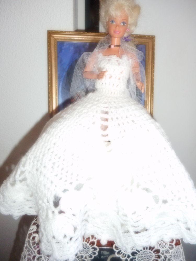 robe de mariée crochetée main longue pour poupée barbie . 0 Lignan-sur-Orb (34)