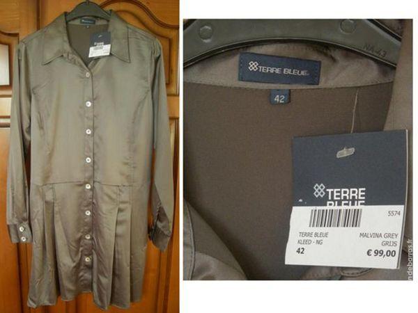 Robe tunique satin gris marque Terre Bleue T42 Vêtements