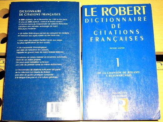 Le Robert dictionnaire des citations françaises Livres et BD