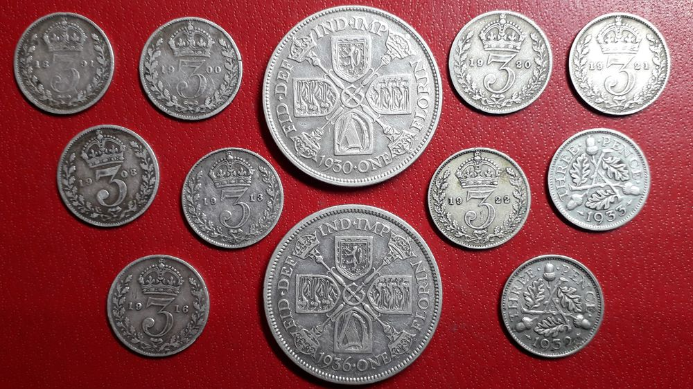 Royaume-Uni  1 lot de 12 monnaies argent  60 Saint-Jean-d'Angély (17)