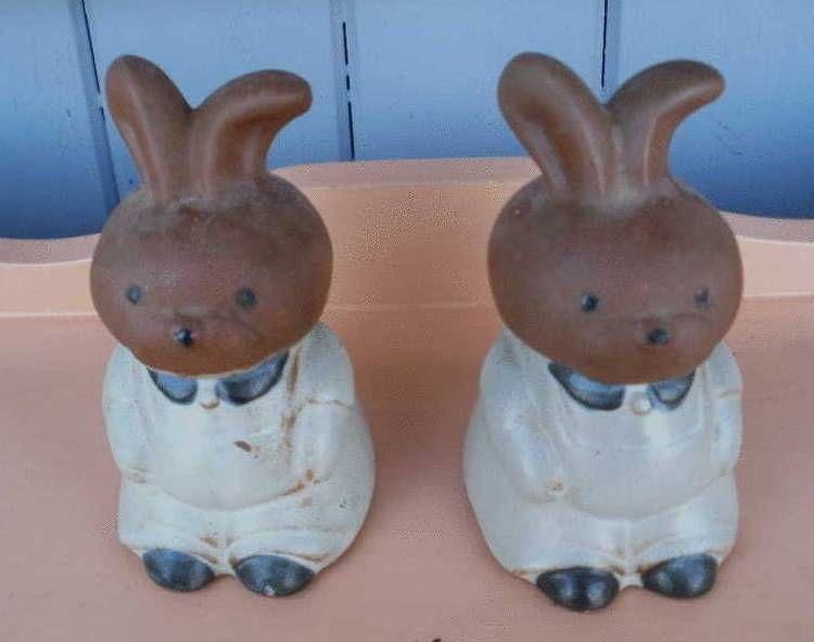 Salière et poivrière en forme de lapin, en terre cuite 7 Montauban (82)