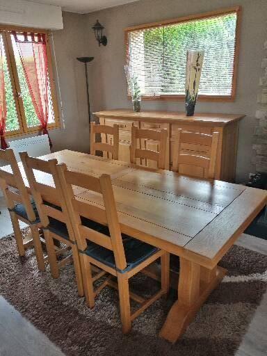 Salle à manger complète bois massif chêne clair  1900 Oye-Plage (62)