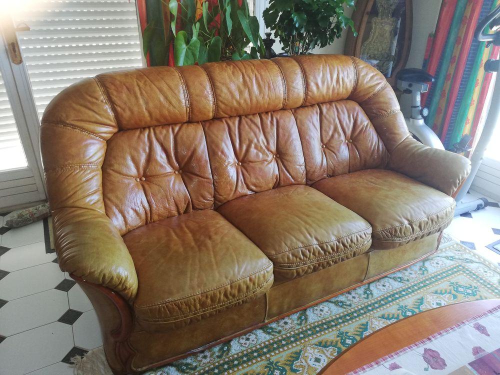 Salon ( canapé + 2 fauteuils ) cuir Mobilier de France 200 Le Castellet (83)