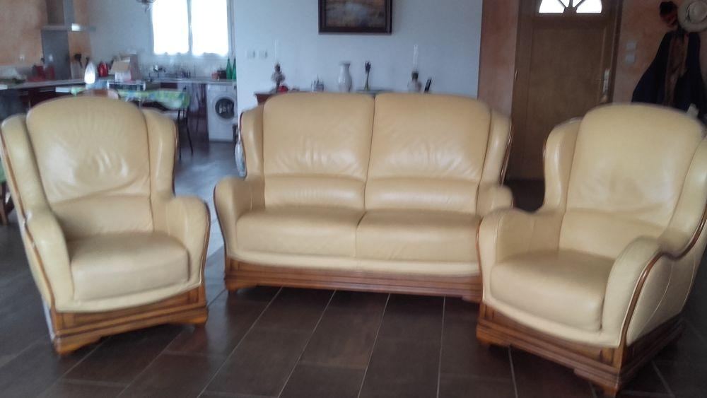 Achetez salon en cuir occasion annonce vente pont de salars 12 wb156053133 - Canape 1 place et demi ...