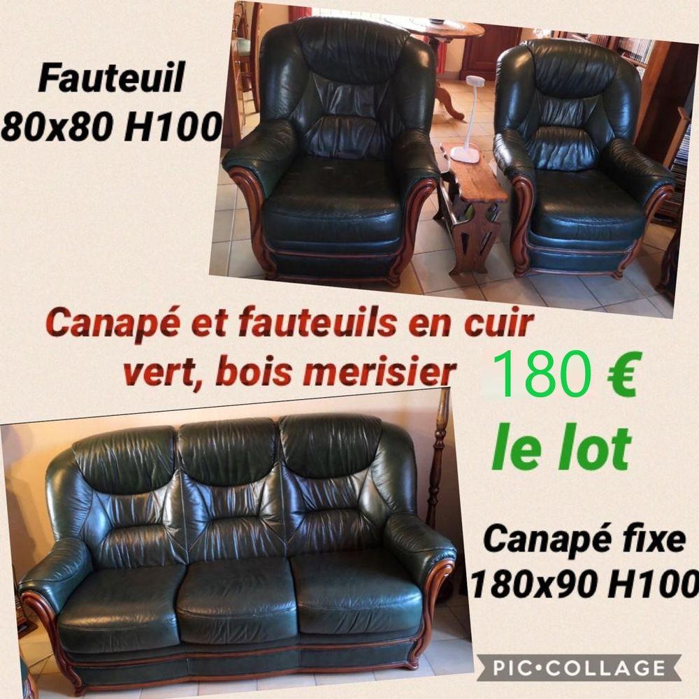 Salon cuir et merisier massif 180 Baguer-Pican (35)
