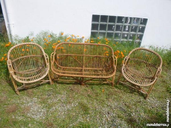 Salon de jardin en osier (banquette / 2 fauteuils) Meubles