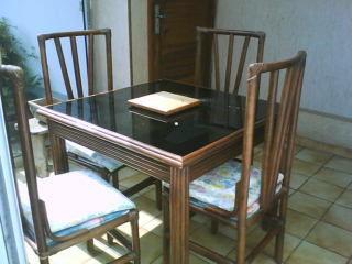 Salon en rotin :table +chaises 120 Préchacq-Josbaig (64)