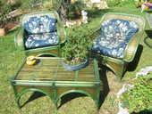 Salon d'été rotin vert 250 Mougins (06)