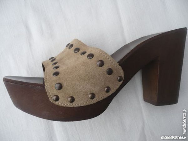 Sandales bois & cuir taille 37 Chaussures