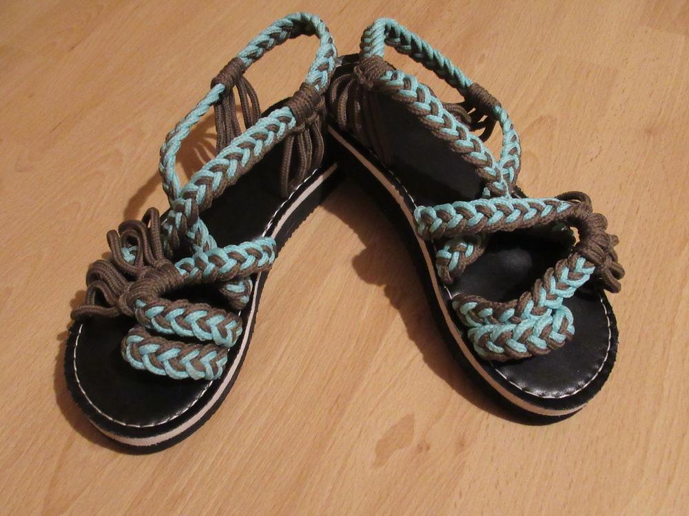 Sandales en corde bleu et marron - Taille 37 15 Livry-Gargan (93)