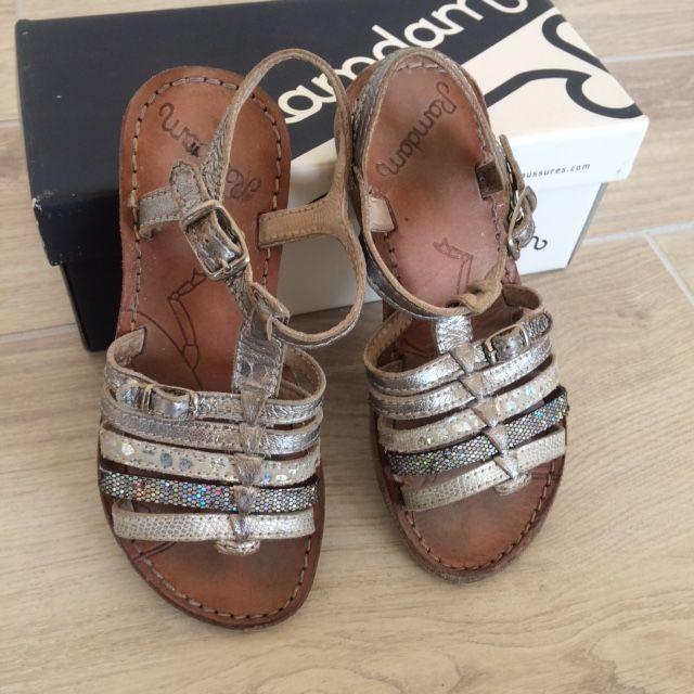 Sandales cuir GBB Bangkok Argent Pointure 30 25 Plouégat-Moysan (29)