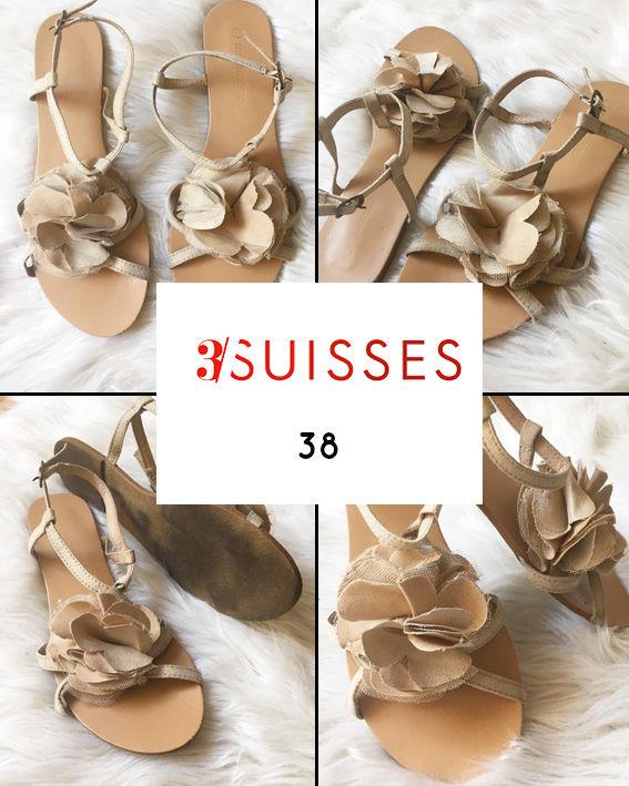 Sandales plates fleurs 3SUISSES 38 Chaussures