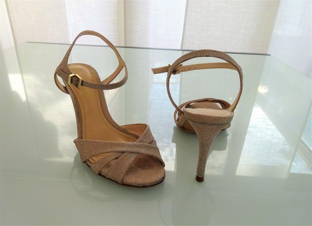 Sandales à talons scintillantes platine CosmoParis 36 30 Saint-Laurent-du-Var (06)