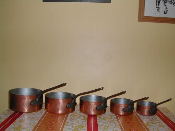 Séies casseroles, poêles, sauteuses cuivre étamées 0 Gaujac (30)