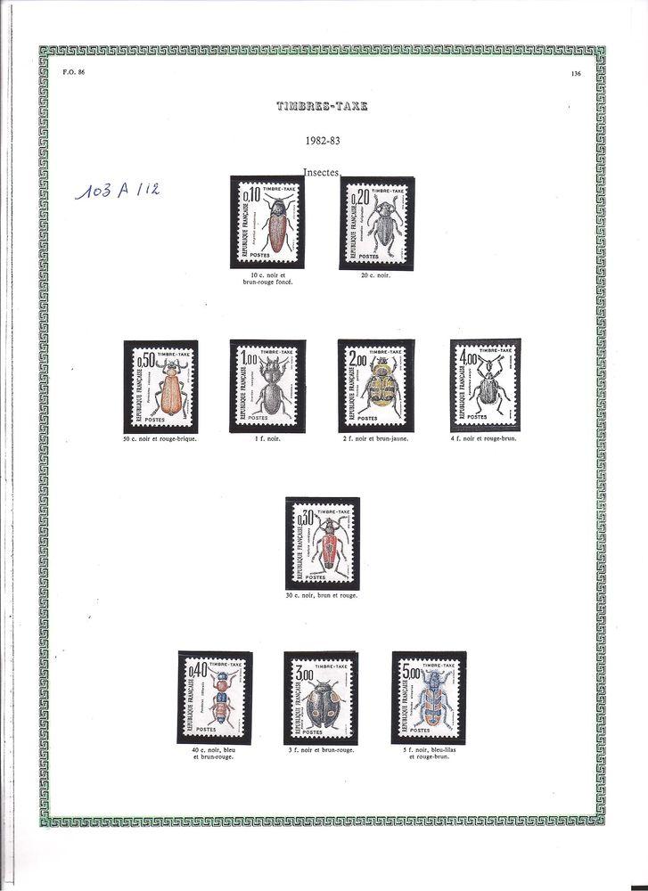 série de timbres taxe dite insectes 5 Rœulx (59)