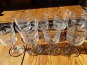 Série de 8 verres gravés 19ème 220 Strasbourg (67)