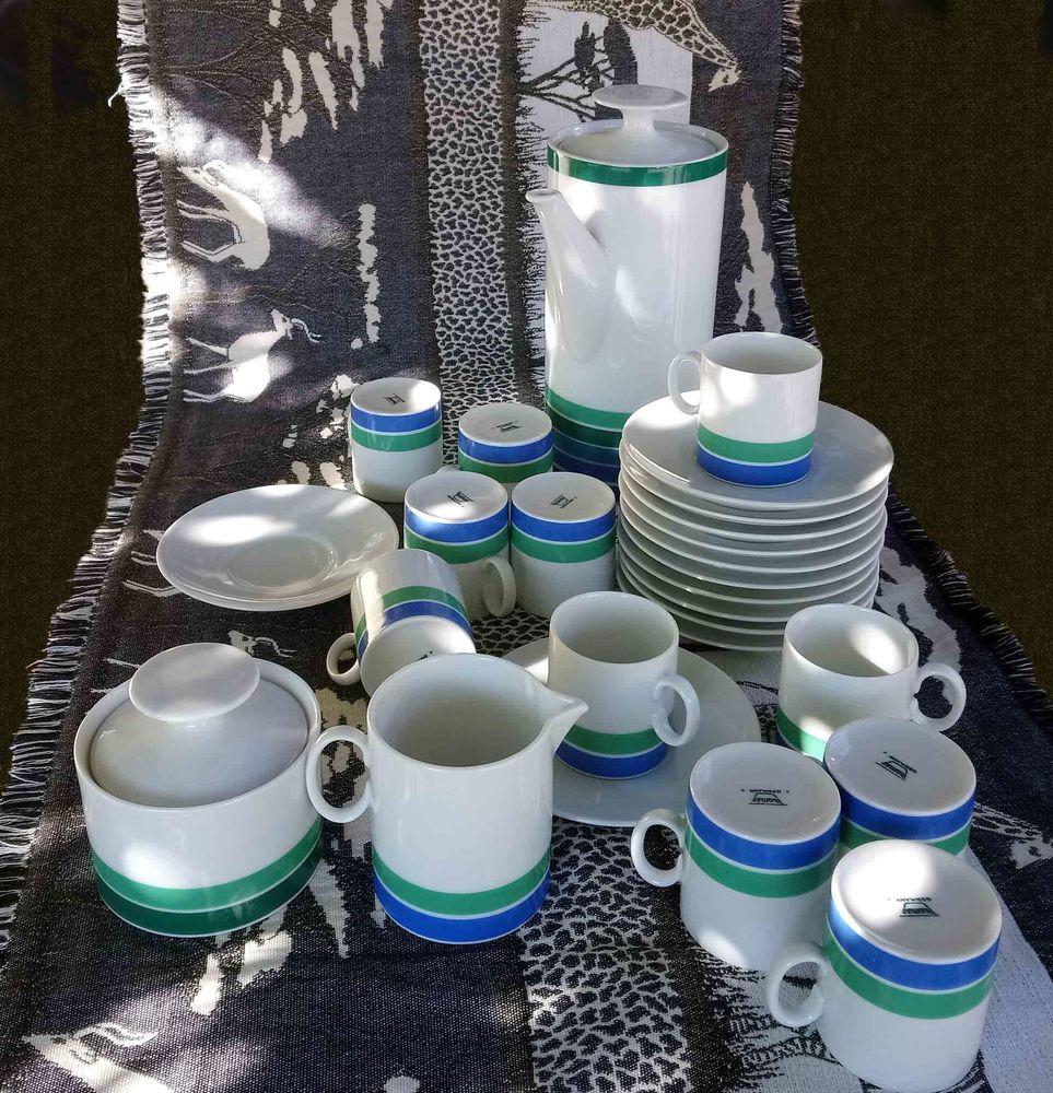 Service à café porcelaine H. Théo BAUMANN 60s -70s Vintage 50 Précieux (42)