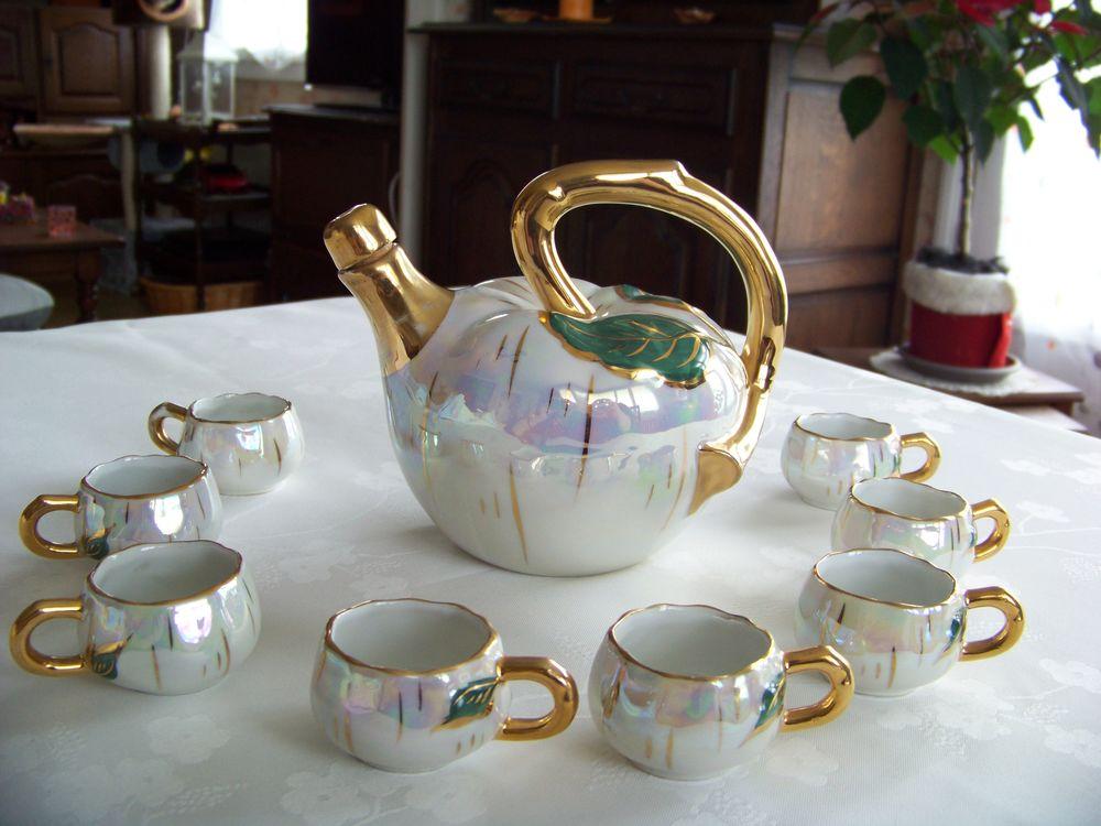 Service à liqueur ancien porcelaine irisée  15 Saint-Jean-de-Thouars (79)