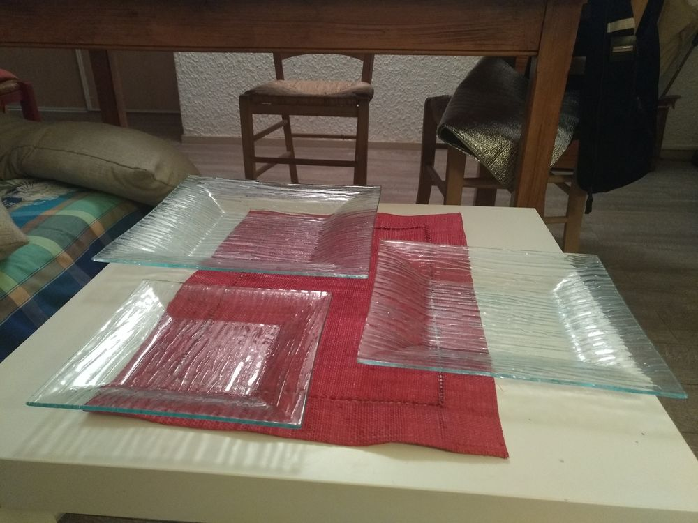 Service 18 pièces assiettes carrées en verre Cuisine