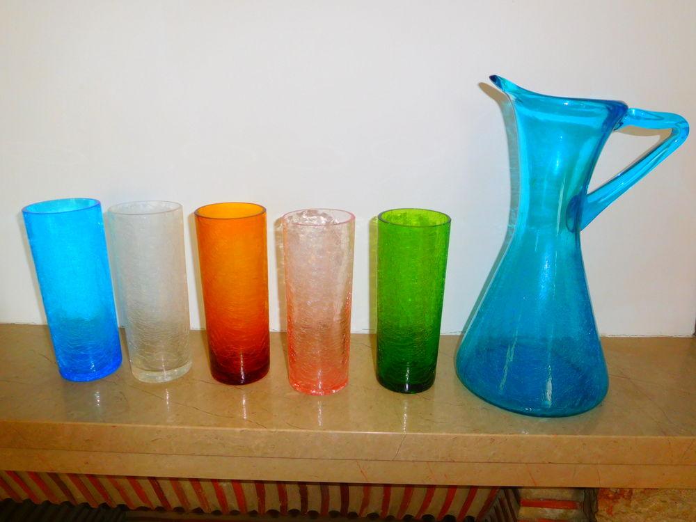 service de 10 verres + carafe en verre craquelé Cuisine