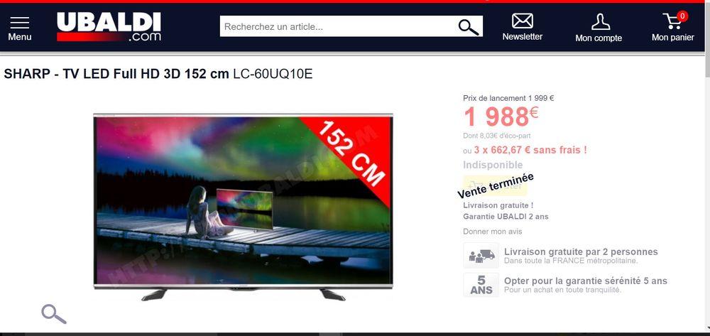 SHARP LC-60UQ10E - TV LED Full HD 3D 152 cm soit 60 pouces  900 Manosque (04)