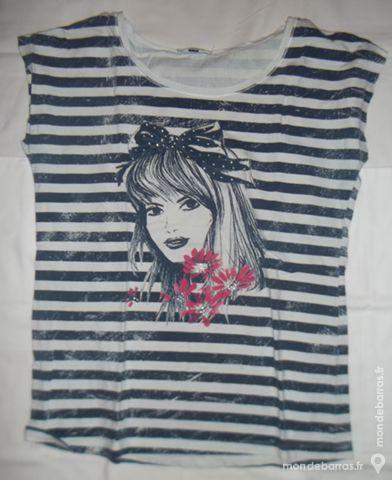 Tee-shirt blanc/bleu - femme 3 Pont-Péan (35)