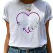 Tee Shirt blanc imprimé Love avec coeur Vêtements