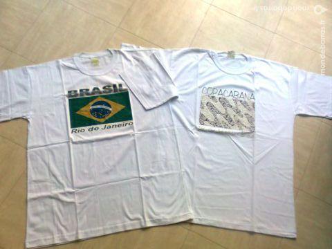 2 tee shirt blancs BRESIL - 52 -zoe Vêtements