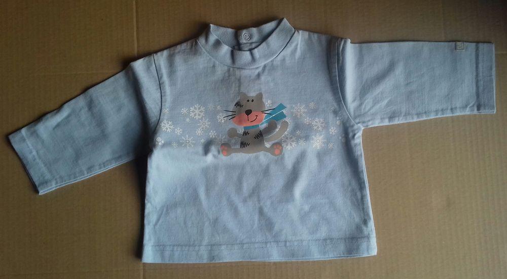 Tee-shirt bleu motif chat culbuto - 6 mois 3 Semoy (45)