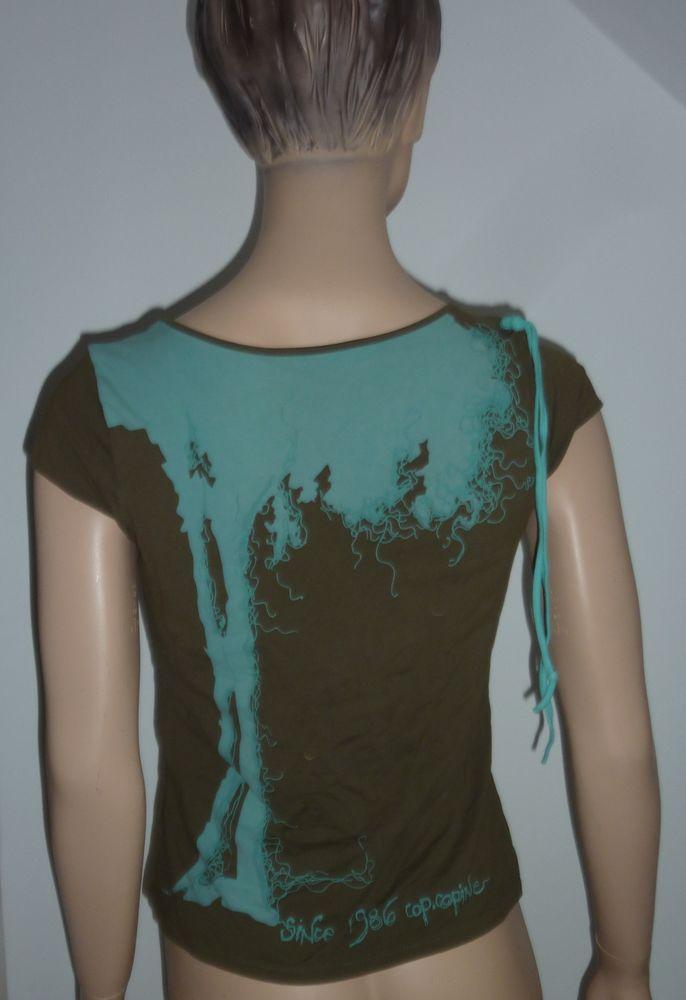 top tee shirt COP COPINE T 1 36 38 rhodes motif arbre kaki  10 Bonnelles (78)