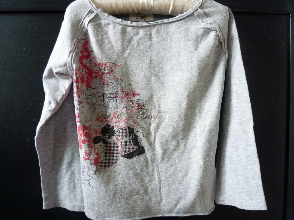T-shirt gris Gémo fille 10 ans ML  1 Brienne-le-Château (10)