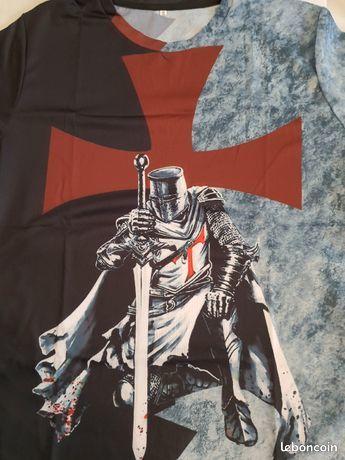 T-Shirt imprimé  Croix et Chevalier Templier  XXXL (Neuf) 14 Chéroy (89)