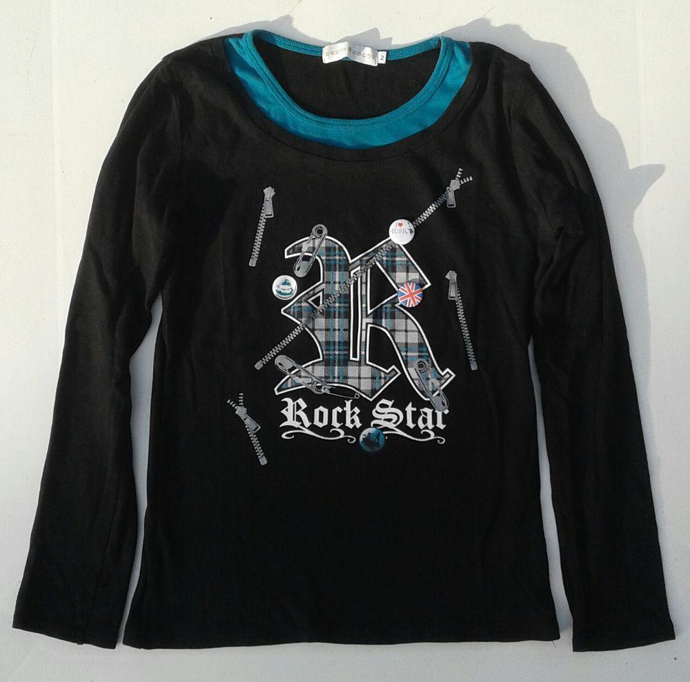 t-shirt longues manches noir avec col bleu 4 Cramont (80)
