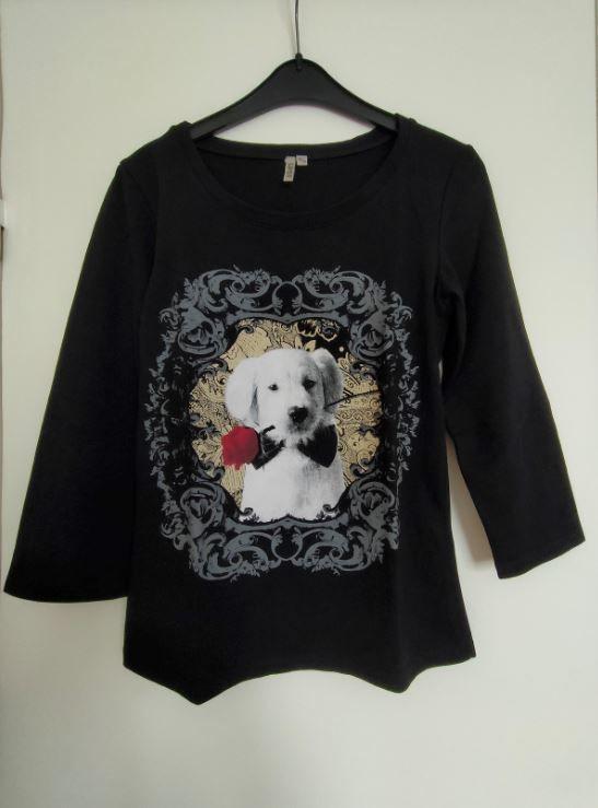Tee-shirt noir chien blanc rose rouge  Spot  T36 6 Montigny-le-Bretonneux (78)