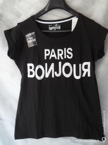 3 Tee-shirt noir :  Paris Bonjour  T 36/40/42 NEUF 6 Pantin (93)