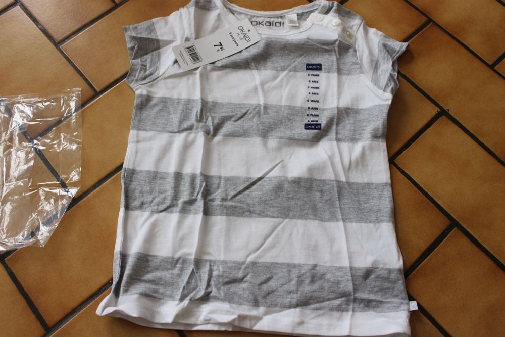 T-shirt okaidi rayé gris neuf 6 ans 5 Wervicq-Sud (59)