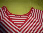 TEE SHIRT rayé rouge/blanc cassé -femme- 38- 5 Doussard (74)