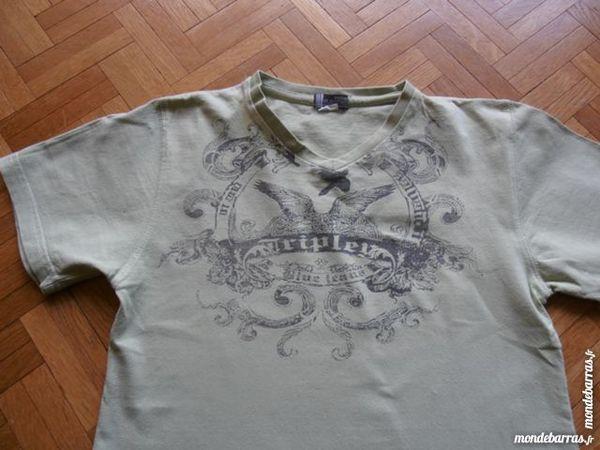 Tee-shirt vert col en V 3 Tours (37)