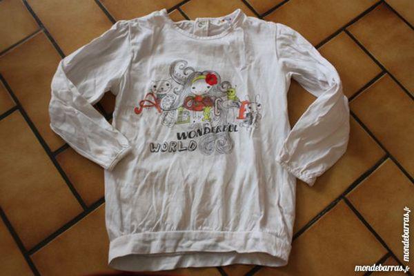2 t-shirts manches longues blancs décorés 4 ans 10 Wervicq-Sud (59)