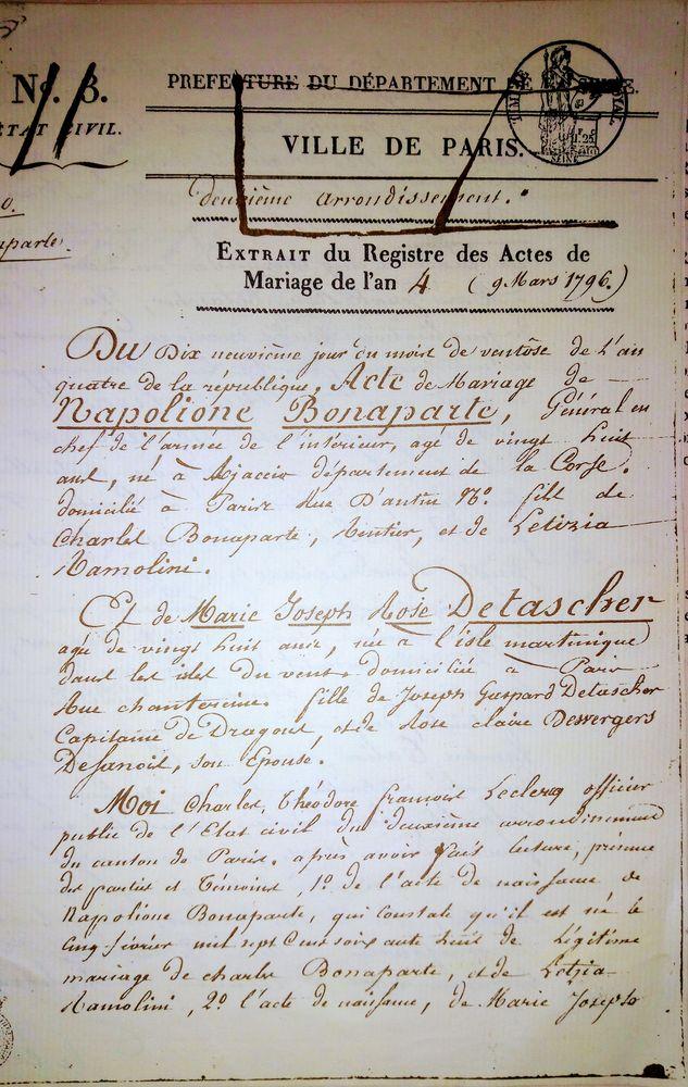 Fac simile de l acte de mariage de Napoléon très rare !  320000 Goussainville (95)