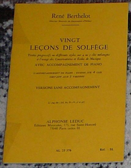 [solfège] 20 leçons de solfège, 5 clés, Berthelot, éd. Leduc 4 Lens (62)