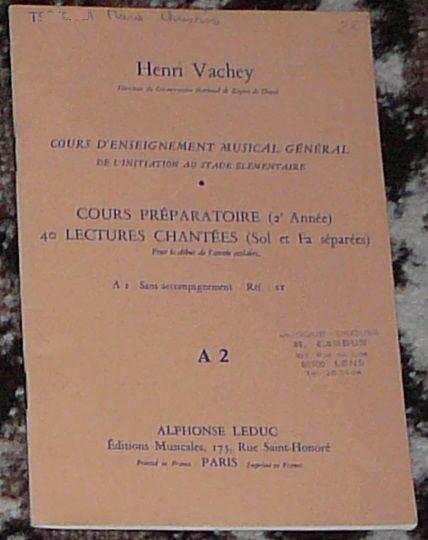 [solfège] 40 lectures chantées n°A2, Vachey, éd. Leduc 3 Lens (62)