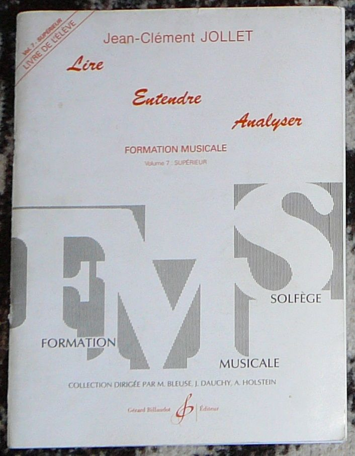 [solfège] Lire Entendre Analyser n°7, Jollet, éd. Billaudot 12 Lens (62)