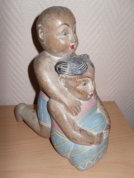 Statue en bois polychrome enfants Asiatique 21,5 cm 25 Neuville-de-Poitou (86)