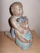 Statue en bois polychrome enfants Asiatique 21,5 cm