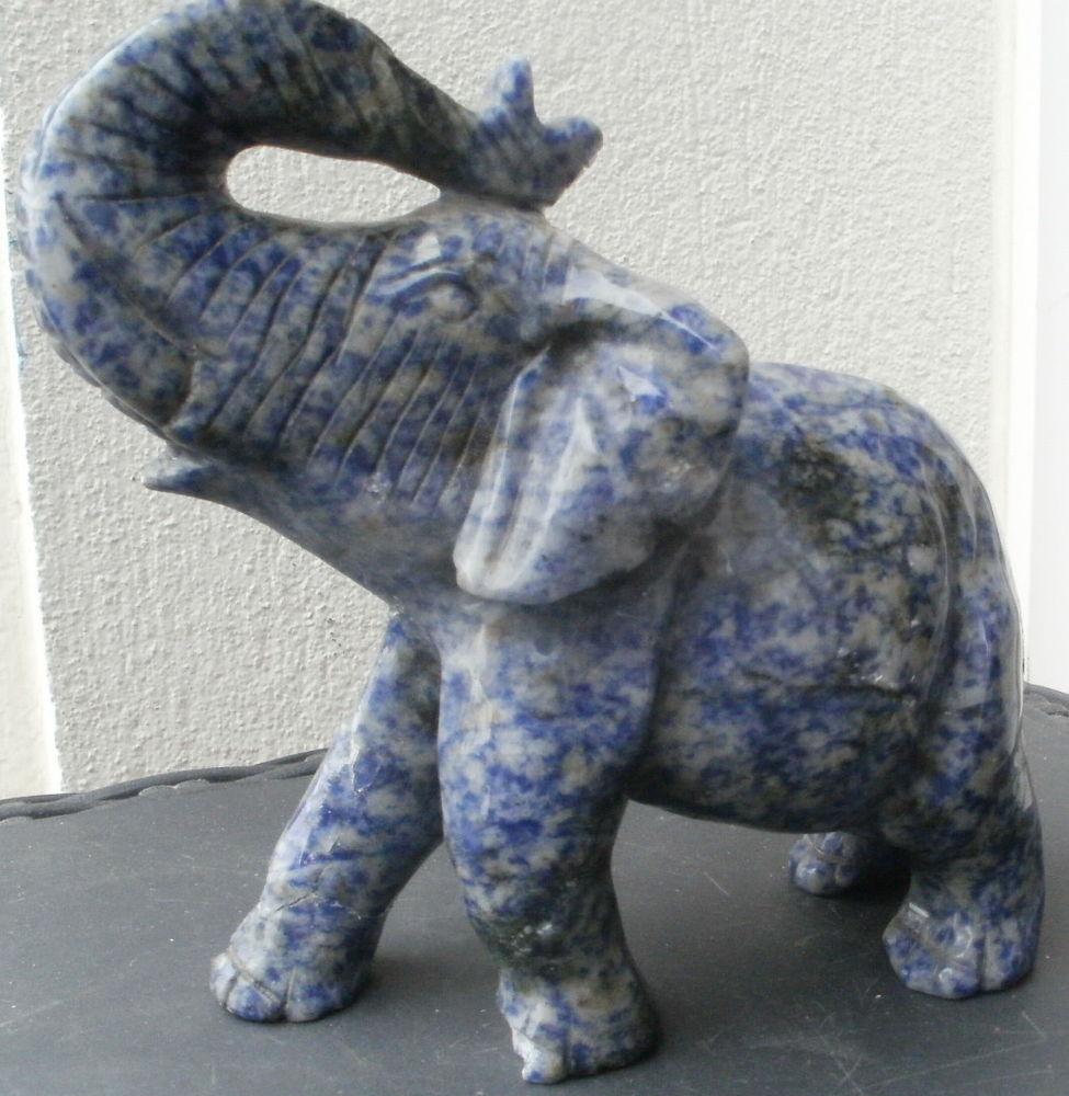 Statue éléphant en pierre mouchetée, bleue et grise 10 Montauban (82)