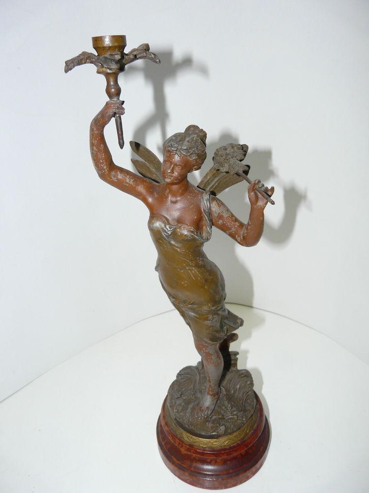STATUE  femme : LES BLES D'OR  signée G.DORIOT + 2 vases. 250 Lille (59)