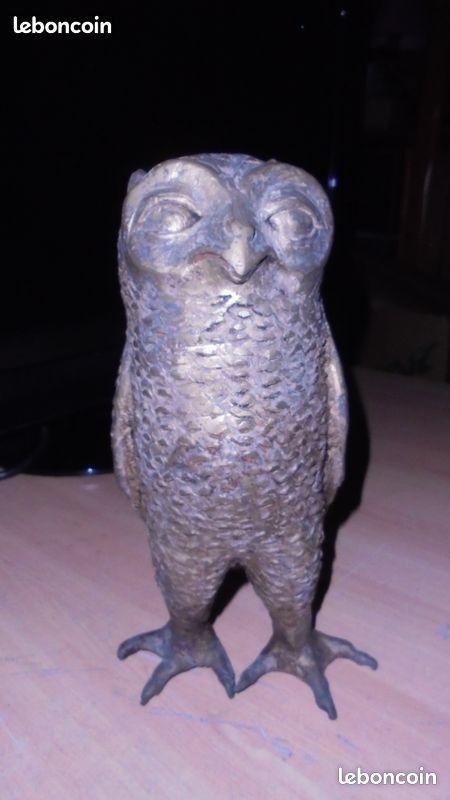 statue sculpture chouette hiboux laiton massif 70 Jurançon (64)